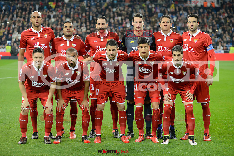Sevilla FC's players during Copa del Rey match between Real Madrid and Sevilla FC at Santiago Bernabeu Stadium in Madrid, Spain. January 04, 2017. (ALTERPHOTOS/BorjaB.Hojas) NortePhoto.com