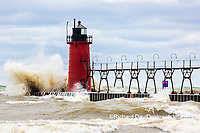64795-02310 South Haven Lighthouse with high waves crashing South Haven,  MI