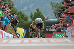 World Champion Alejandro Valverde (ESP) Movistar Team leads Primoz Roglic (SLO) Team Jumbo-Visma to the finish line at the end of Stage 7 of La Vuelta 2019 running 183.2km from Onda to Mas de la Costa, Spain. 30th August 2019.<br /> Picture: Colin Flockton | Cyclefile<br /> <br /> All photos usage must carry mandatory copyright credit (© Cyclefile | Colin Flockton)