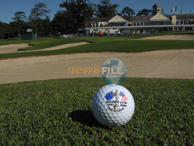 Final preparations are made for 2006 Ryder cup at the K Club in Straffin Co Kildare. A ryder cup golf ball sits at the approach to the 18 green..Photo: Fran Caffrey/ Newsfile.