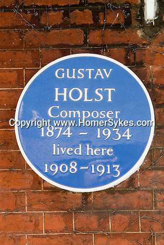 Barnes southwest London Uk. Blue plaque for Gustave Holst on home in the The Terrace road.