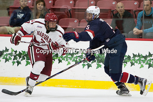 Eddie Ellis (Harvard - 7), Nate Knoepke (NTDP - 5) - The Harvard University Crimson defeated the US National Team Development Program's Under-18 team 5-2 on Saturday, October 8, 2016, at the Bright-Landry Hockey Center in Boston, Massachusetts.
