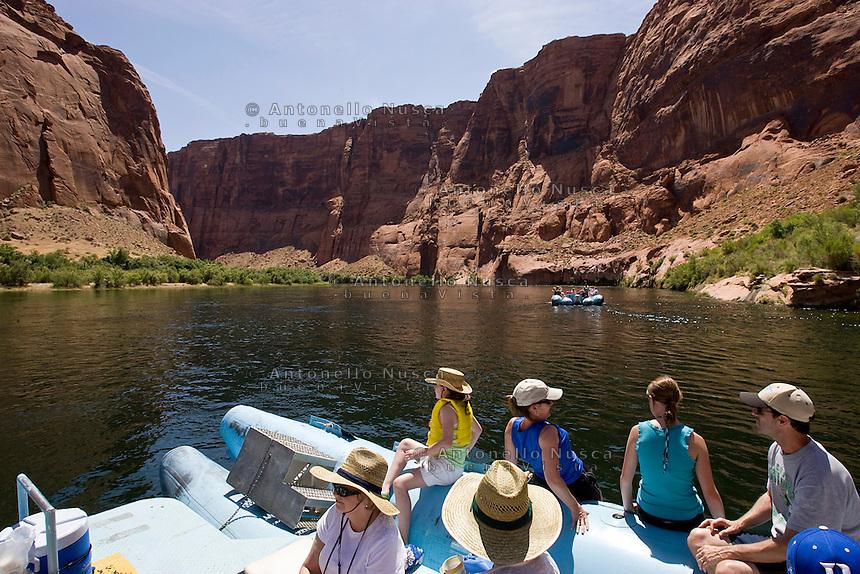 Page, Arizona Usa, June 15, 2007. Rafting on the Glend Canyon on the Colorado river.