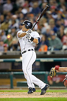 Detroit Tigers catcher Ivan Rodriguez (7) watches the flight of the ball of his bat versus the Los Angeles Angels at Comerica Park in Detroit, MI, Sunday, April 27, 2008.