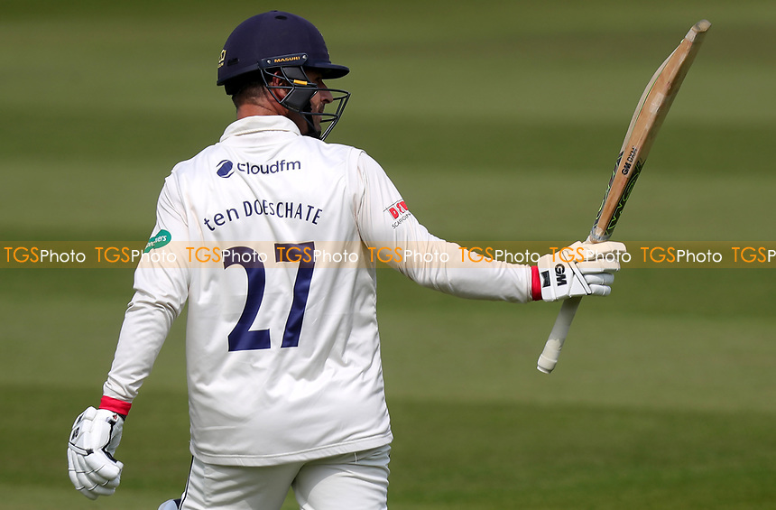 Ryan ten Doeschate of Essex celebrates scoring a century (100) of runs during Surrey CCC vs Essex CCC, Specsavers County Championship Division 1 Cricket at the Kia Oval on 13th April 2019