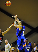 Dion Prewster shoots for goal during the national basketball league match between Wellington Saints and Canterbury Rams at TSB Bank Arena, Wellington, New Zealand on Monday, 6 April 2015. Photo: Dave Lintott / lintottphoto.co.nz