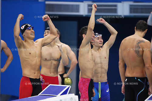Kosuke Hagino, Naito Ehara, Yuki Kobori, Takeshi Matsuda (JPN), <br /> AUGUST 9, 2016 - Swimming : <br /> Men's 4x200m Freestyle Relay Final <br /> at Olympic Aquatics Stadium <br /> during the Rio 2016 Olympic Games in Rio de Janeiro, Brazil. <br /> (Photo by Yohei Osada/AFLO SPORT)