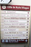 street sign corgoloin cote de nuits burgundy france