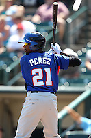 Buffalo Bisons outfielder Fernando Perez #21 during a game against the Rochester Red Wings at Frontier Field on August 2, 2011 in Rochester, New York.  Rochester defeated Buffalo 7-3.  (Mike Janes/Four Seam Images)