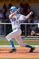 Jacob Stallings #5 of the North Carolina Tar Heels follows through on his swing against the Florida State Seminoles at Boshamer Stadium March 20, 2010, in Chapel Hill, North Carolina.  Photo by Brian Westerholt / Four Seam Images