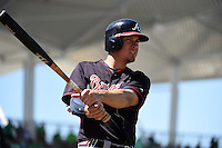 Atlanta Braves infielder Kelly Johnson (24) during a Spring Training game against the Boston Red Sox on March 17, 2015 at JetBlue Park at Fenway South in Fort Myers, Florida.  Atlanta defeated Boston 11-3.  (Mike Janes/Four Seam Images)