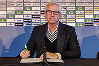 2nd January 2020, The Hague, Holland;  ADO Den Haag new coach Alan Pardew with contract during the presentation
