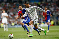 Cristiano Ronaldo of Real Madrid and Fabian Schar of FC Basel 1893 during the Champions League group B soccer match between Real Madrid and FC Basel 1893 at Santiago Bernabeu Stadium in Madrid, Spain. September 16, 2014. (ALTERPHOTOS/Caro Marin) /NortePhoto.com