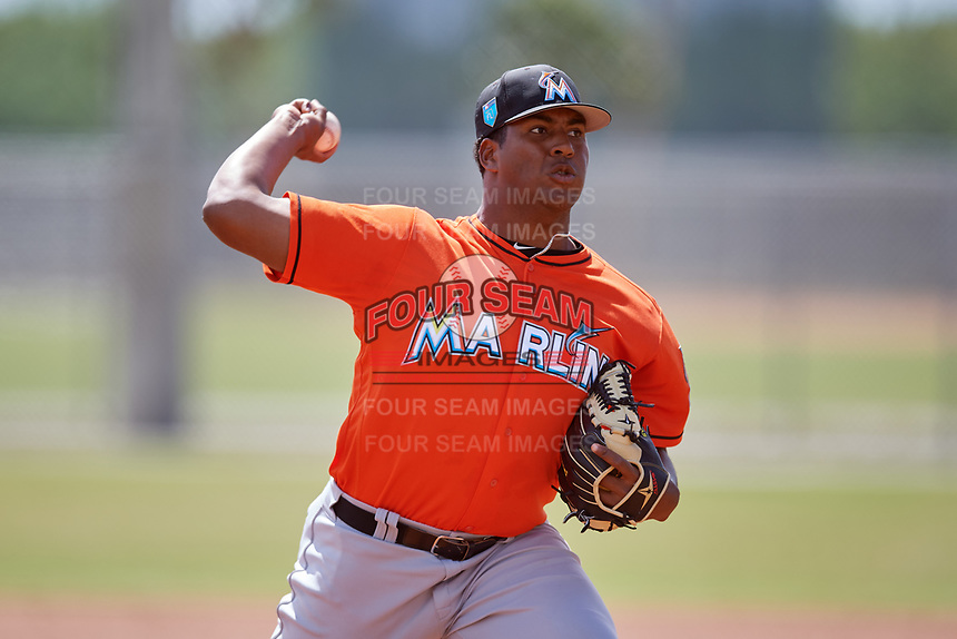 Miami Marlins pitcher Alberto Guerrero (15) during a Minor League Spring Training Intrasquad game on March 27, 2018 at the Roger Dean Stadium Complex in Jupiter, Florida.  (Mike Janes/Four Seam Images)