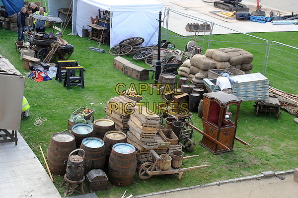 "ATMOSPHERE.Preparations for external filming for the ""Pirates Of The Carribean: On Stranger Tides"" movie, Greenwich, London, England, UK, September 25th 2010..props  GV general view filmset film set .CAP/IA.©Ian Allis/Capital Pictures."