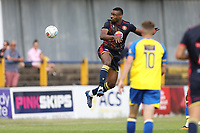 Jonathan Obika of Stevenage flicks a header towards goal during St Albans City vs Stevenage, Friendly Match Football at Clarence Park on 13th July 2019