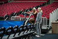 FRESNO, CA--Assistant Sports Performance Coach Susan Borchardt watches a workout with Jasmine Camp during a practice day in preparation to take on Duke at the Save Mart Center for the West Regionals Championships of the 2012 NCAA Championships.