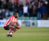 Lincoln City's John Akinde at the end of the game<br /> <br /> Photographer Chris Vaughan/CameraSport<br /> <br /> The EFL Sky Bet League Two - Lincoln City v Stevenage - Saturday 16th February 2019 - Sincil Bank - Lincoln<br /> <br /> World Copyright © 2019 CameraSport. All rights reserved. 43 Linden Ave. Countesthorpe. Leicester. England. LE8 5PG - Tel: +44 (0) 116 277 4147 - admin@camerasport.com - www.camerasport.com