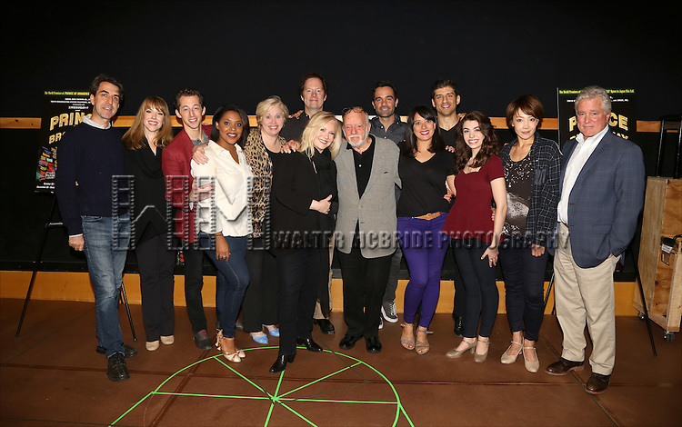 Jason Robert Brown, Emily Skinner, Josh Grisetti, Nancy Opel, Bryonha Marie Parham, Nancy Opel, Shuler Hensley, Susan Stroman, Hal Prince, Ramin Karimloo, Mariand Torres, Tony Yazbeck, Kaley Ann Voorhees, Reon Yuzuki and David Thompson during the press day preview of 'Prince of Broadway' at SIR Studio on October 5, 2015 in New York City.
