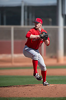 Los Angeles Angels relief pitcher Max Herrmann (83) during a Minor League Spring Training game against the Cincinnati Reds at the Cincinnati Reds Training Complex on March 15, 2018 in Goodyear, Arizona. (Zachary Lucy/Four Seam Images)