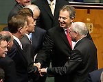 UK PM Tony Blair addresses Federal Parliament, Monday, March 27, 2006. He is introduced to MP Tony Abbott by the PM John Howard. (AAP Image/Mark Graham) NO ARCHIVING