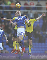 Blackburn Rovers Lewis Travis jumps with Birmingham City's Michael Morrison<br /> <br /> Photographer Mick Walker/CameraSport<br /> <br /> The EFL Sky Bet Championship - Birmingham City v Blackburn Rovers - Saturday 23rd February 2019 - St Andrew's - Birmingham<br /> <br /> World Copyright © 2019 CameraSport. All rights reserved. 43 Linden Ave. Countesthorpe. Leicester. England. LE8 5PG - Tel: +44 (0) 116 277 4147 - admin@camerasport.com - www.camerasport.com