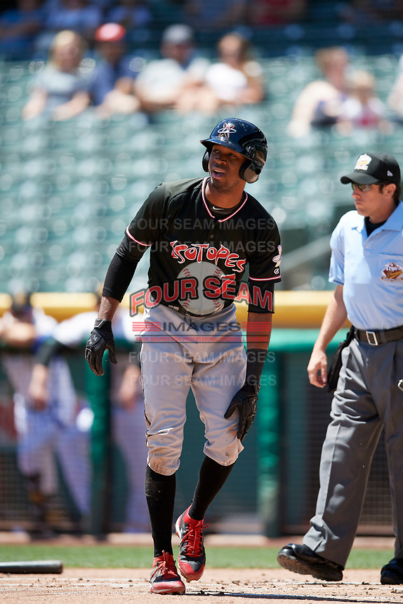 Rosell Herrera (7) of the Albuquerque Isotopes during the game against the Salt Lake Bees in Pacific Coast League action at Smith's Ballpark on June 11, 2017 in Salt Lake City, Utah. The Bees defeated the Isotopes 6-5. (Stephen Smith/Four Seam Images)
