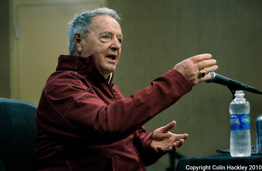 JACKSONVILLE, FL 1/1/10-FSU-WV FB CH98-Florida State Head Coach Bobby Bowden speaks during the post-game news conference after his final game in the Gator Bowl, Friday in Jacksonville, Fla. The Seminoles beat West Virginia 33-21..COLIN HACKLEY PHOTO