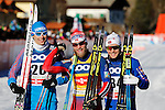 Alexander Bessmertnykh, Martin Johnsrud Sundby, Sjur Roethe during the FIS Cross Country Ski World Cup15 Km Individual Classic race in Dobbiaco, Toblach a, on December 20, 2015. Norway's Martin Johnsrud Sundby wins. Credit: Pierre Teyssot