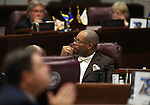 Nevada Senate Minority Leader Aaron Ford, D-Las Vegas, listens to debate on the Senate floor on a proposal to help fund a football stadium and convention center improvements in Las Vegas during a special session at the Nevada Legislature in Carson City, Nev. on Tuesday, Oct. 11, 2016. The Senate approved the measure. Cathleen Allison/Las Vegas Review-Journal