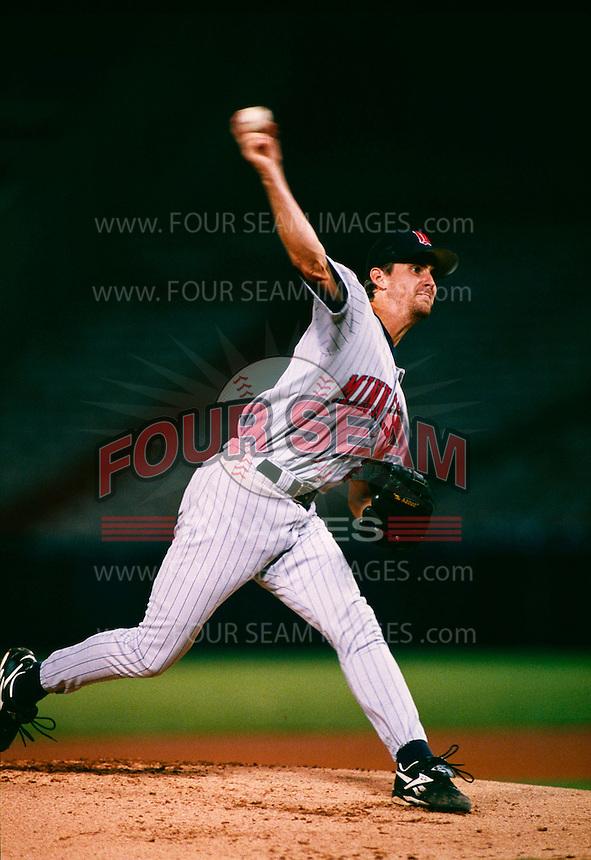Brad Radke of the Minnesota Twins during a game at Anaheim Stadium in Anaheim, California during the 1997 season.(Larry Goren/Four Seam Images)