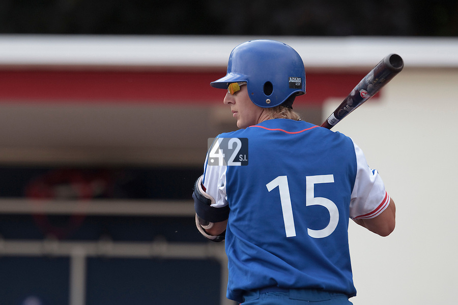 13 July 2010: Luc Piquet of Team France is seen at bat during day 1 of the Open de Rouen, an international tournament with Team France, Team Saint Martin, Team All Star Elite, at Stade Pierre Rolland, in Rouen, France.
