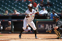 Darien Simms (4) of the Sam Houston State Bearkats runs his hand up his bat to attempt a bunt during the game against the Vanderbilt Commodores in game one of the 2018 Shriners Hospitals for Children College Classic at Minute Maid Park on March 2, 2018 in Houston, Texas. The Bearkats walked-off the Commodores 7-6 in 10 innings.   (Brian Westerholt/Four Seam Images)