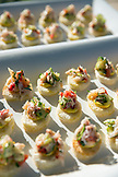 USA, Oregon, Willamette Valley, a Dungeness Crab appetizer is served at an event called Bounty of the County at the Sokol Blosser Winery, food prepared by Nick's Italian Cafe, Dayton