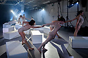 "Berwick-Upon-Tweed, Northumberland, UK. 14.09.2018. Shobana Jeyasingh Dance perform ""Contagion"", in the Gymnasium Gallery, Berwick-Upon-Tweed Barracks and Main Guard. ""Contagion"" is directed and choreographed by Shobana Jeyasingh, with projection design by Nina Dunn, lighting design by Yaron Abulafia, and set and costume design by Merle Hensel. <br />
