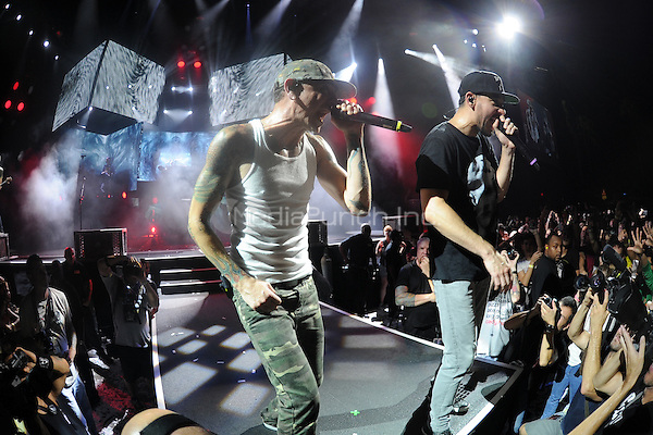 WEST PALM BEACH - AUGUST 8: Chester Bennington  and Mike Shinoda of Linkin Park perform at the Cruzan Amphitheatre on August 8, 2014 in West Palm Beach, Florida.Credit: mpi04/MediaPunch
