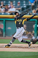 Alberto Triunfel (8) of the Salt Lake Bees bats against the El Paso Chihuahuas at Smith's Ballpark on August 14, 2018 in Salt Lake City, Utah. El Paso defeated Salt Lake 6-3. (Stephen Smith/Four Seam Images)