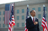 United States President Barack Obama stands during a remembrance ceremony for the 12th anniversary of the 9/11 terrorist attacks, at the Pentagon on September 11, 2013 in Arlington, Virginia. <br /> Credit: Kevin Dietsch / Pool via CNP