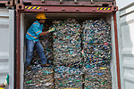 18 September 2019, Jakarta, Indonesia: Director General of Customs and Excise Hero Pambudi shows off containers of domestic waste that was sent to Indonesia for processing by Australia. It is being returned after inspection by Indonesian authorities who uncovered illegal waste hidden in among the genuine waste. After a huge outcry at the illegal waste being sent from Australia the Australian Government has stopped export of waste overseas to be processed domestically instead. Picture by Graham Crouch/The Australian