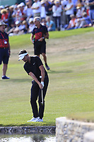 Mike Lorenzo-Vera (FRA) chips onto the 18th green during Sunday's Final Round 4 of the 2018 Omega European Masters, held at the Golf Club Crans-Sur-Sierre, Crans Montana, Switzerland. 9th September 2018.<br /> Picture: Eoin Clarke | Golffile<br /> <br /> <br /> All photos usage must carry mandatory copyright credit (&copy; Golffile | Eoin Clarke)
