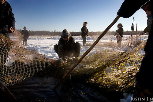Fishermen fish in a frozen lake at the Bedime village in Yakutia. Nikifor Alfonski, head of the village, is pushing fellow villagers to join the party, which backs Russian President Vladimir Putin. .On one single day this year, 136 people in his village joined the party. .United Russia is a political party in the Russian Federation which usually labels itself centrist. It can be seen as Putin's vehicle in the State Duma (the lower house of Russian parliament). It was founded in April 2001 as a merger between Yuriy Luzhkov's, Yevgeny Primakov's and Mintimer Shaeymiev's Fatherland - All Russia party, and the Unity Party of Russia, led by Sergei Shoigu and Alexander Karelin..United Russia is a relatively new party in the Russian Parliament but has been making great gains in recent federal and local elections due to the popularity of Putin.
