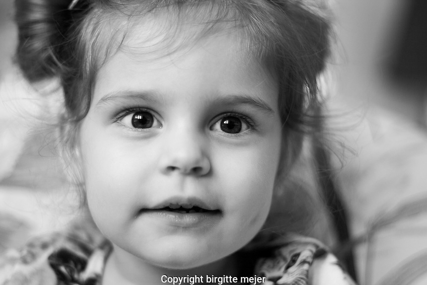 toddler portrait, up close - black and white