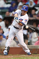 August 18, 2007: Mike Fontenot at bat for the Chicago Cubs on a rainy day at Wrigley Field in Chicago, IL.  Photo by:  Chris Proctor/Four Seam Images