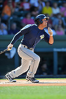 Left fielder Joe Tuschak (22) of the Columbia Fireflies bats in a game against the Greenville Drive on Sunday, April 24, 2016, at Fluor Field at the West End in Greenville, South Carolina. Greenville won, 5-1. (Tom Priddy/Four Seam Images)