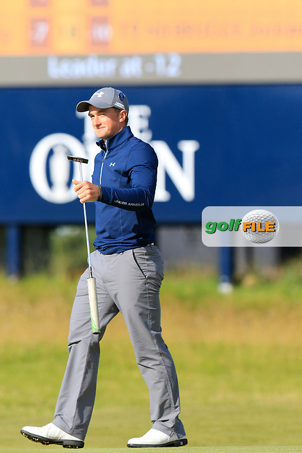 Paul DUNNE (AM)(IRL) birdies the 15th green during Sunday's Round 3 of the 144th Open Championship, St Andrews Old Course, St Andrews, Fife, Scotland. 19/07/2015.<br /> Picture Eoin Clarke, www.golffile.ie
