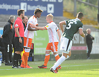 Blackpool's Armand Gnanduillet comes on to replace Mark Cullen<br /> <br /> Photographer Kevin Barnes/CameraSport<br /> <br /> The EFL Sky Bet League One - Plymouth Argyle v Blackpool - Saturday 15th September 2018 - Home Park - Plymouth<br /> <br /> World Copyright &copy; 2018 CameraSport. All rights reserved. 43 Linden Ave. Countesthorpe. Leicester. England. LE8 5PG - Tel: +44 (0) 116 277 4147 - admin@camerasport.com - www.camerasport.com