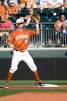 Texas Longhorns first baseman Tant Shepherd #9 records a putout in the first inning against the Arizona State Sun Devls in NCAA Tournament Super Regional baseball on June 10, 2011 at Disch Falk Field in Austin, Texas. (Photo by Andrew Woolley / Four Seam Images)