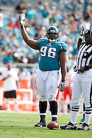 November 08, 2009:     Jacksonville Jaguars defensive tackle Terrance Knighton (96) urges the crowd to cheer during first half action between the AFC West  Kansas City Chiefs and AFC South Jacksonville Jaguars at Jacksonville Municipal Stadium in Jacksonville, Florida............