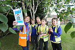 Pupils Joshua Batte, Tom Insole, Kaiden Jones &amp; William Matey from Ysgol Gwaun Y Nant (Barry) with Welsh Water teacher Mari Wort taking part in Bio Diversity Week at Welsh Water Education Centre Cog Moors.<br /> <br /> 24.06.13<br /> &copy;Steve Pope-FOTWALES