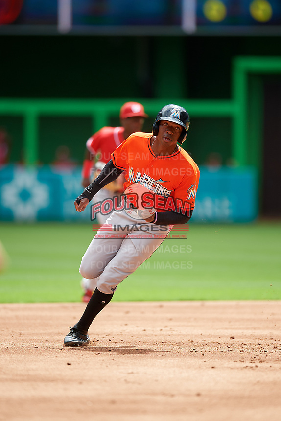 Miami Marlins Thomas Jones (30) runs the bases during a Florida Instructional League game against the Washington Nationals on September 26, 2018 at the Marlins Park in Miami, Florida.  (Mike Janes/Four Seam Images)
